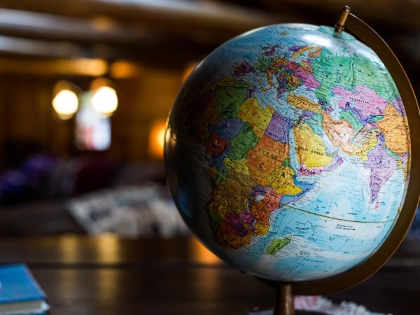 A world map globus focused on the middle east